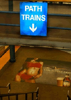 Hoboken PATH 2005 Michelob faceless woman ad
