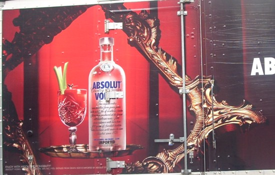 Absolut Bloody delivery truck graphic