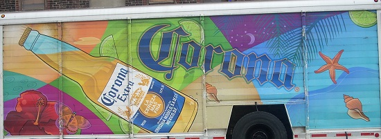 Corona Extra truck ad with subliminal images