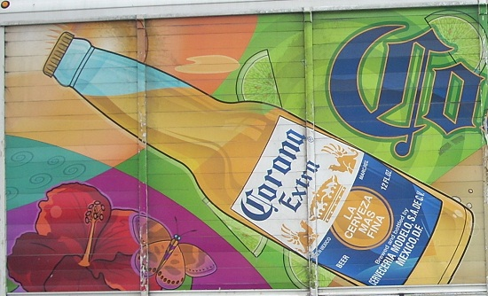 Close-up of Corona Extra truck ad with subliminal images
