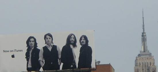 Apple iTunes Beatles billboard NYC with the Empire State Building in the background