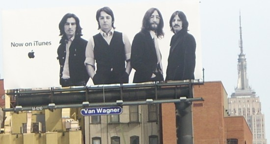 Apple iTunes Beatles billboard NYC with the Empire State Building in the background1