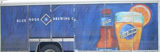 Blue Moon beer delivery truck graphic