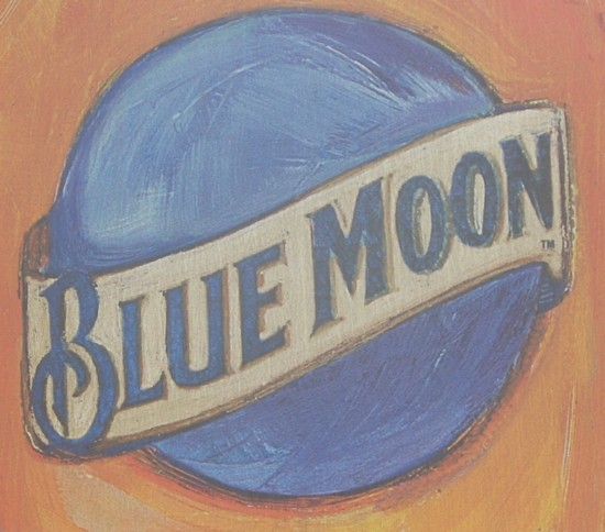 Blue Moon beer delivery truck graphic on the back of truck