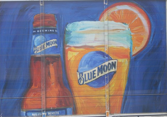 Blue Moon beer delivery truck graphic on the side