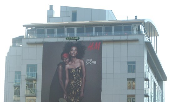 H&M New York City Meatpacking District billboard - 2011-1 on top of building