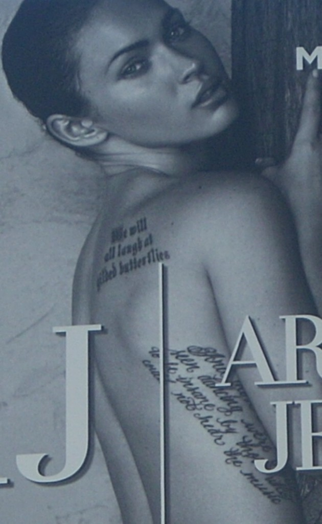 Armani Jeans Megan Fox billboard closeup to show tattoo text