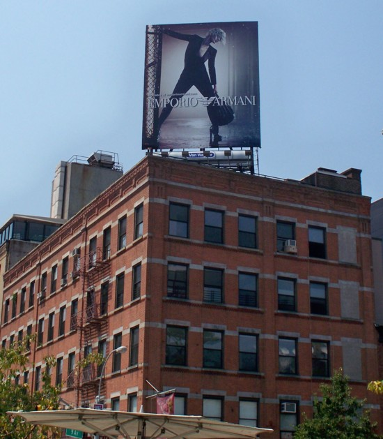 Armani billboard – 2011 Number 7 installed on building