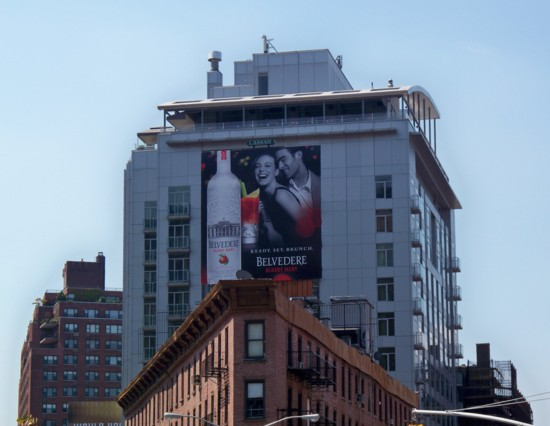 Belvedere Bloody Mary billboard on top of building seen from 14th Street in NYC - 07-11