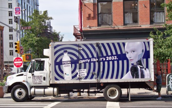 Svedka female robot truck billboard - July 2011 - 14th and 9th NYC