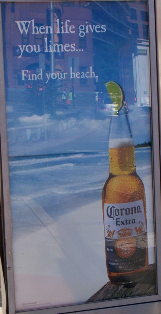 Corona Extra phone booth billboard close-up