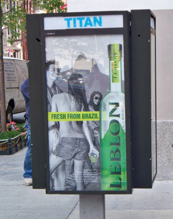 Leblon Cachaca telephone booth billboard - street NYC
