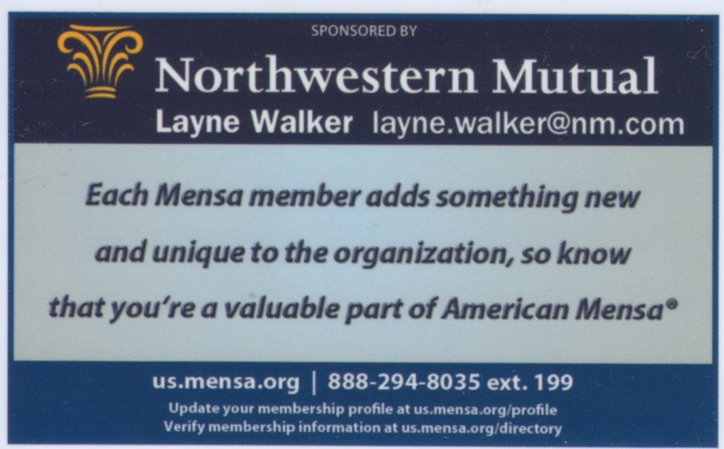 Mensa 2014 membership card, with ad on back