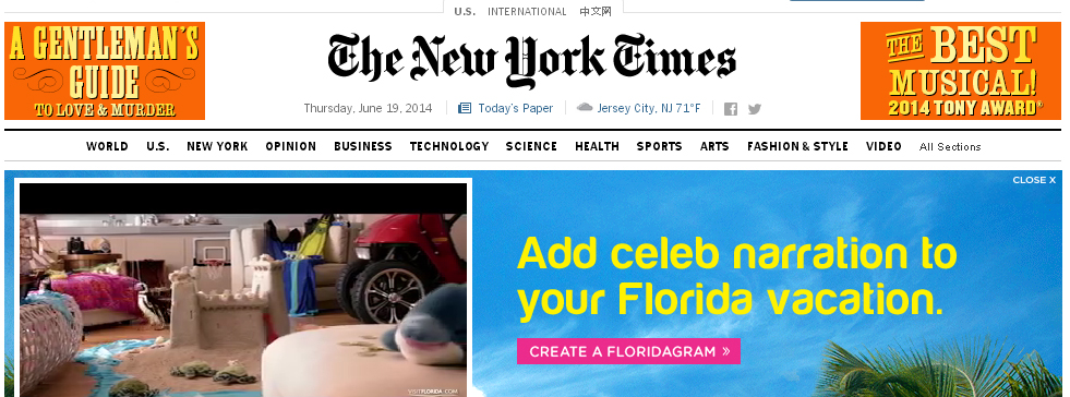 New York Times Web Site with video ad